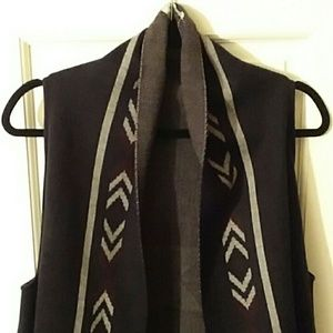 World Market black design shawl / Vest One size